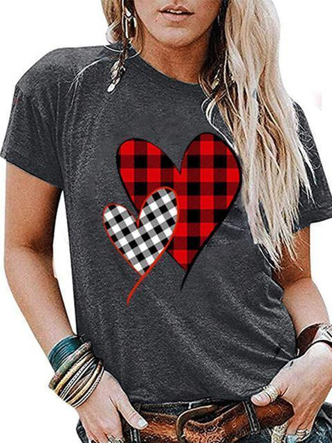 Heart Print Valentine's Day Plaid T-shirt