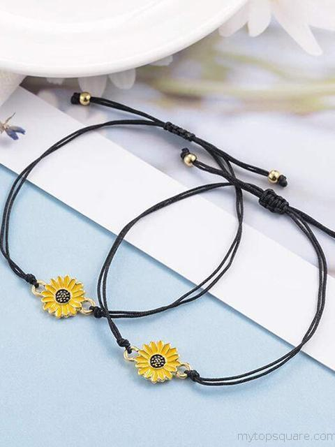 Sunflower Adjustable Braid Alloy Bracelet 2 Pieces
