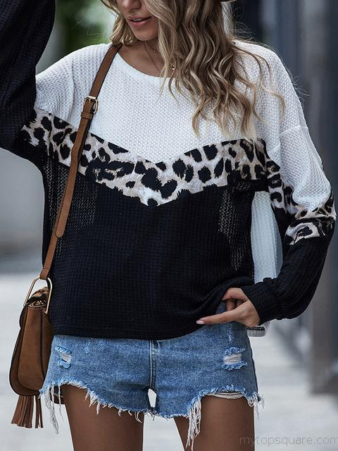 Leopard Print Contrast Stitching Crew Neck Top