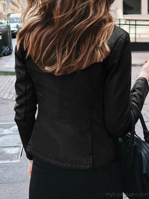 Solid Color PU Leather Zipper Short Jacket