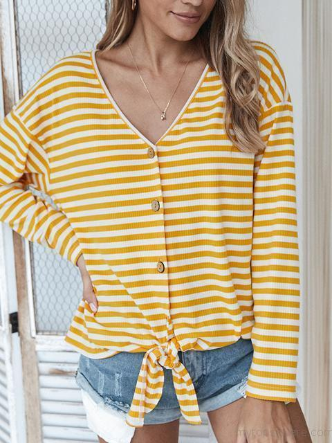 Striped Button Long Sleeve Sweater