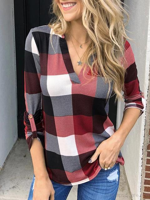 Long Sleeve Plaid Print V-neck Tops