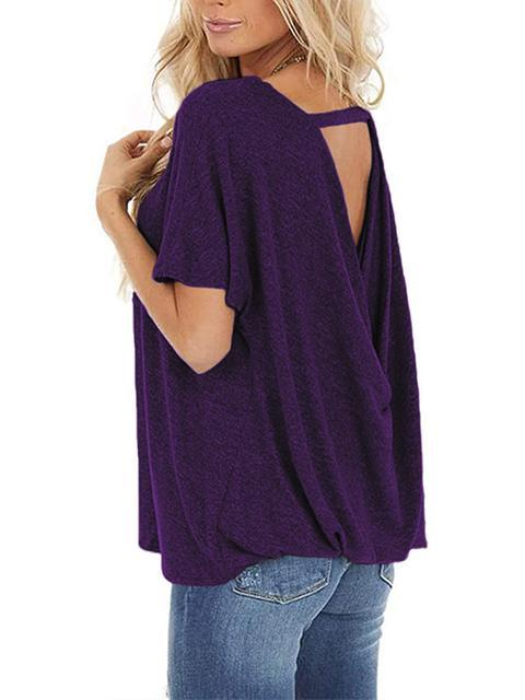 Backless Short Sleeve Loose T-shirt
