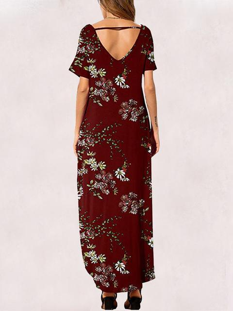 Boho Floral Print Maxi Dress With Pockets
