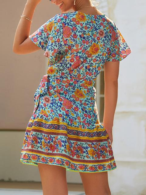 Boho Floral Print V-neck Short Dress