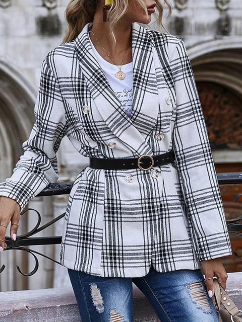 Buttons Plaid Print Blazer Coat