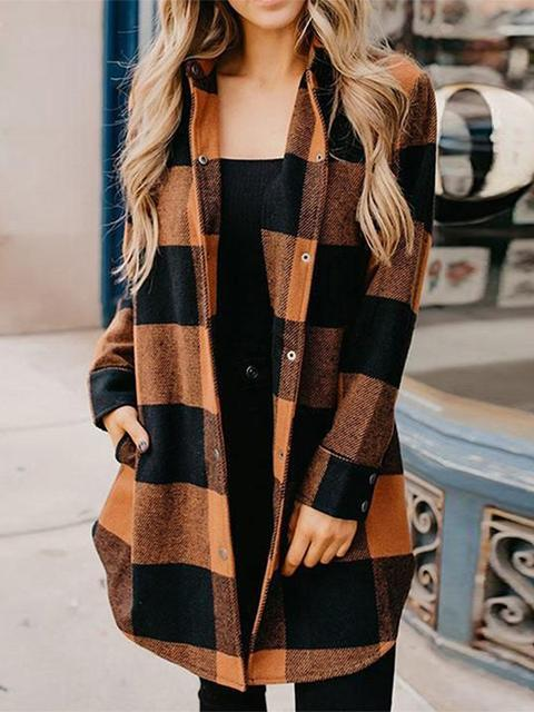 Buttons Up Plaid Print Long Coat
