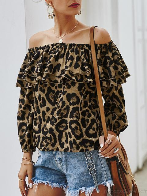 Off Shoulder Leopard Print Tops