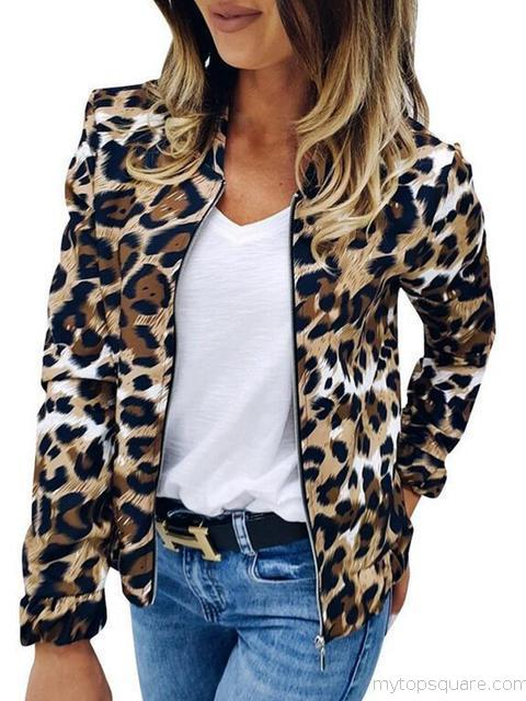Leopard Pattern Zipper Casual Jacket