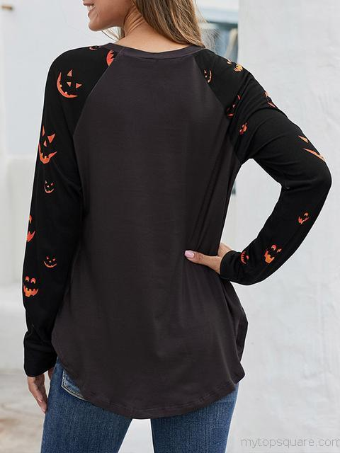 Long Sleeve Halloween Print Tops