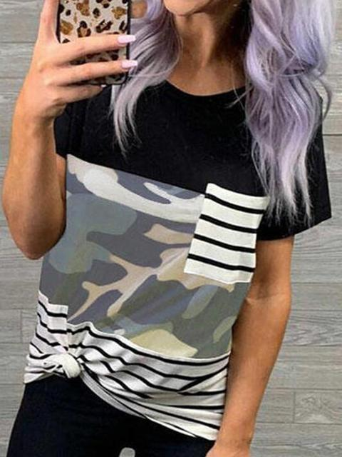 Camo Leopard Print Striped T-shirt