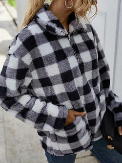 Camo Plaid Print Cozy Plush Tops