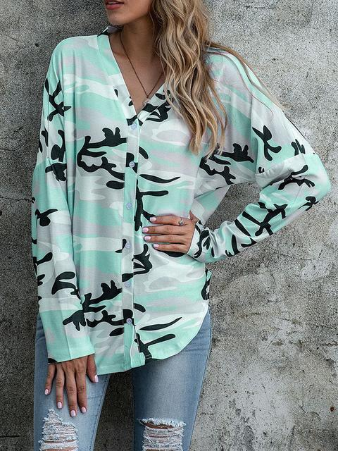 Camo Print Buttons Up Blouse