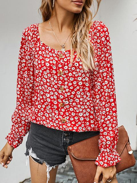 Casual Floral Pattern Long Sleeve Top