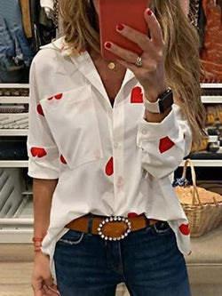 Casual Heart Print Long Sleeve Blouse