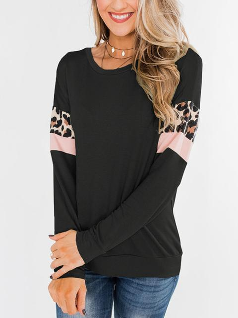 Casual Leopard Sleeves Patchwork Top