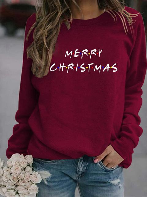 Casual Merry Christmas Letter Print Sweatshirt