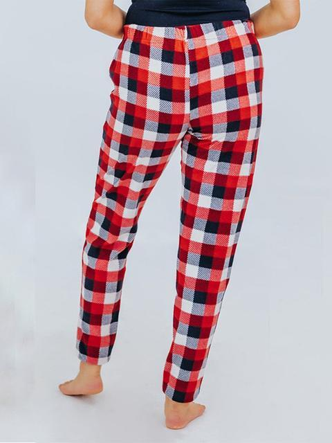 Casual Plaid Fleece Jeans