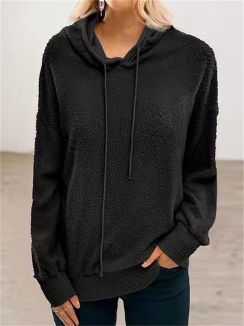 Casual Plush Drawstring Hooded Pullover