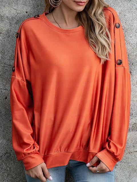 Casual Solid Button Sleeve Top