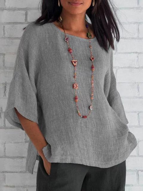 Casual Solid Loose Regular Tops