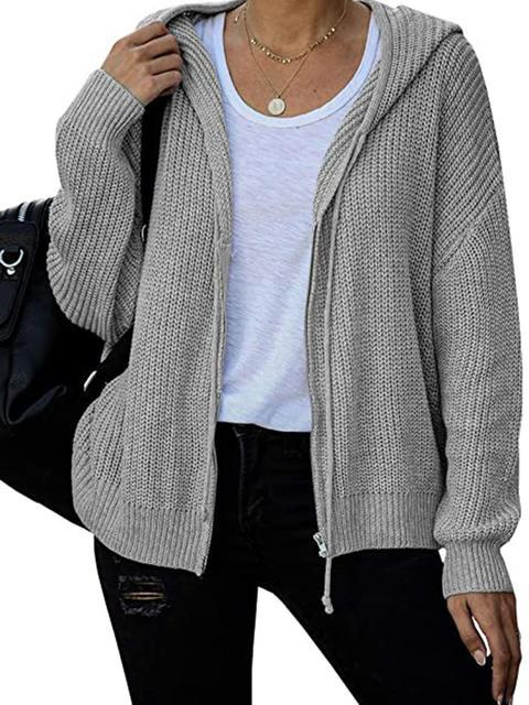 Casual Solid Zipper Sweater Cardigan