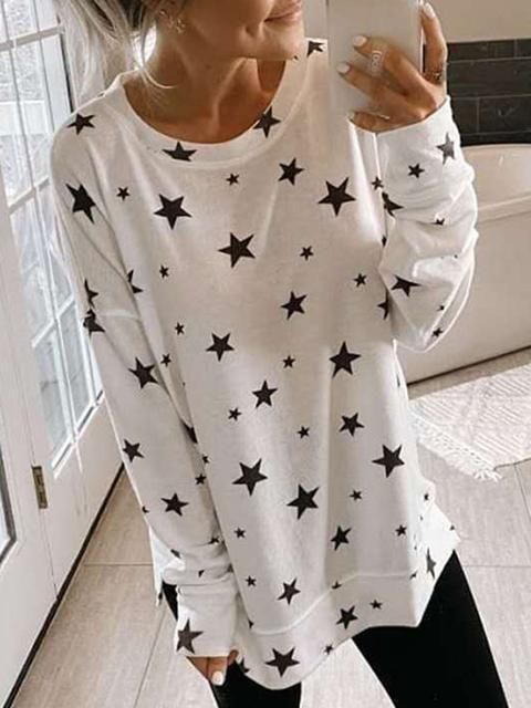 Casual Star Printed Long Sleeve Tee