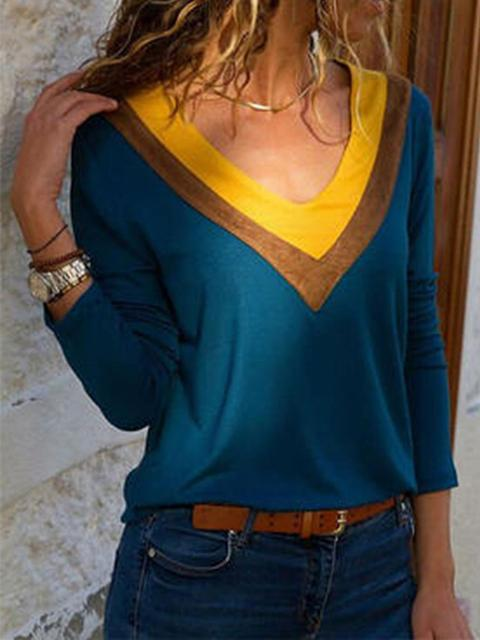 Casual Stitching Solid Tops Blouse