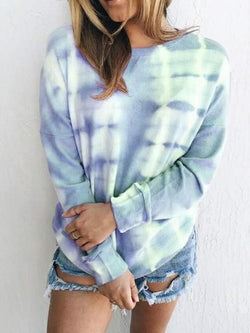 Casual Tie-dye Long Sleeve Tops