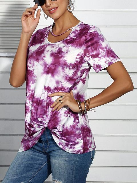 Casual Tie-Dye Print Twisted T-shirt