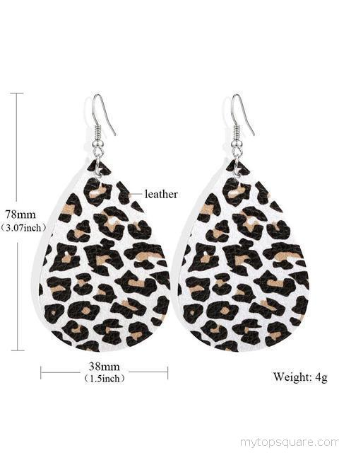 Leopard Pattern Leather Earrings
