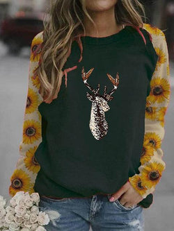 Christmas Chrysanthemum Sleeve Printed Sweatshirt