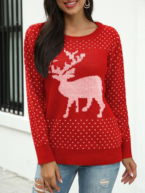 Christmas Fawn Print Long Sleeve Sweater