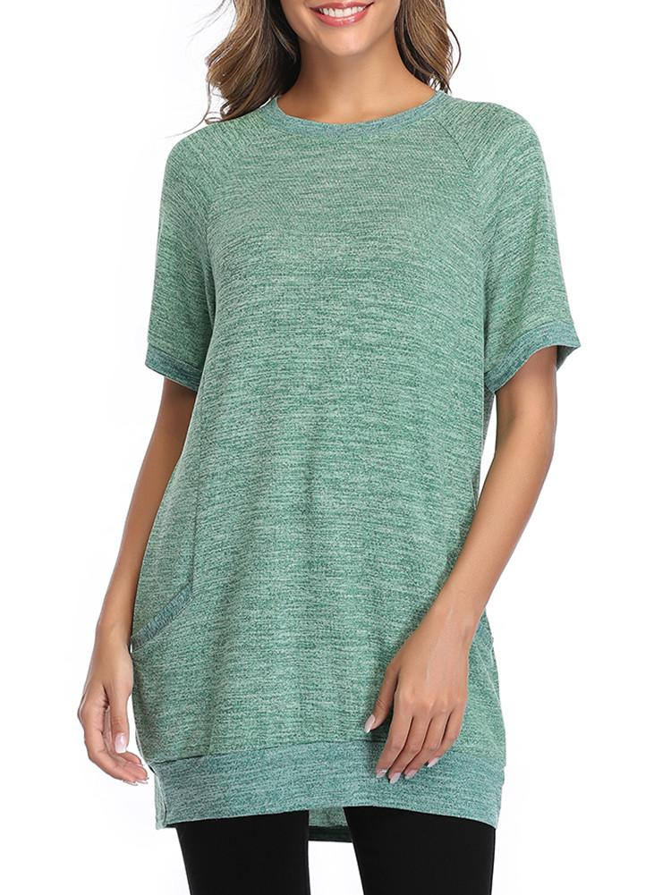 Color Block Casual T-shirt With Pockets