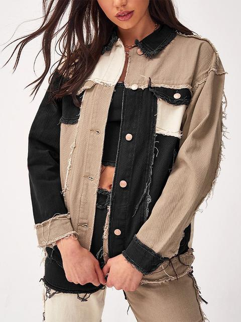 Color Block Fringe Buttons Denim Jacket