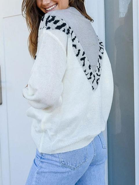 Color Block Leopard Patchwork Knitted Pullover