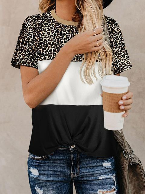 Color Block Leopard Print T-shirt