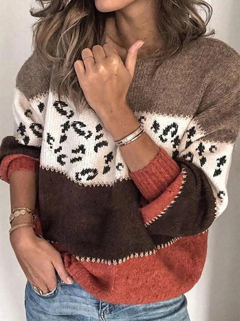 Color Block Leopard Stitched Knitting Sweater