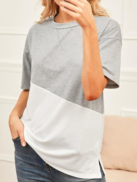 Color Block Round Neck Casual T-shirt