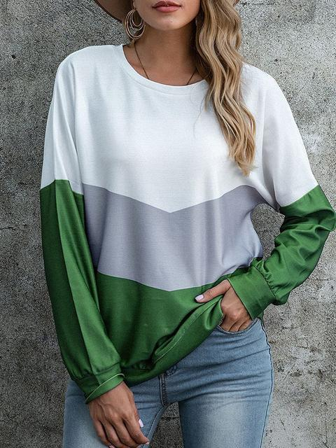 Color Block Round Neck Pullover Tops