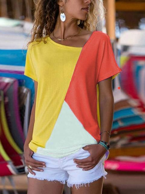 Color Block Round Neck Tops