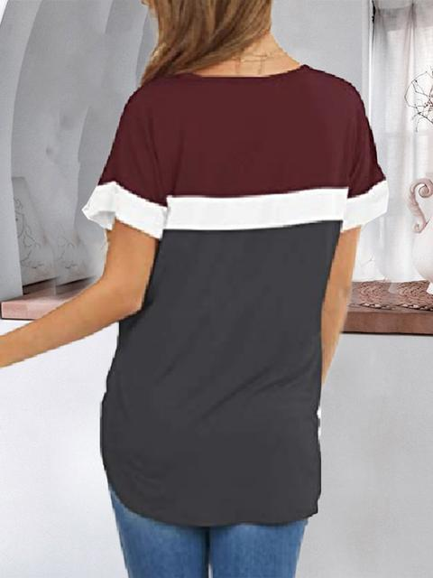 Color Block Short Sleeve Casual T-shirt