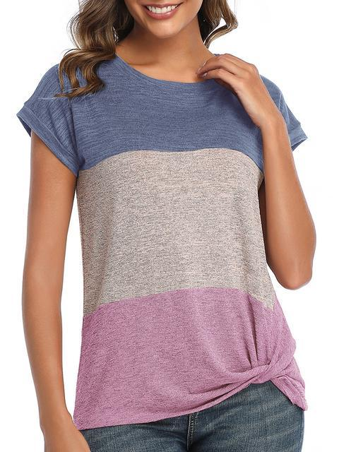 Color Block Twist Casual T-shirt