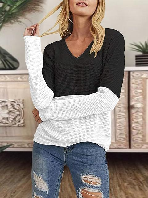 Color Block V-neck Knitted Pullover