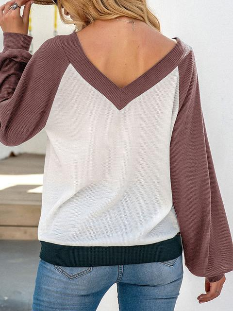 Color Block V-neck Knitted Tops