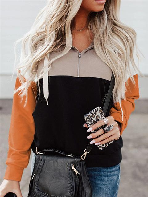 Color Block Zipper Up Sweatshirt