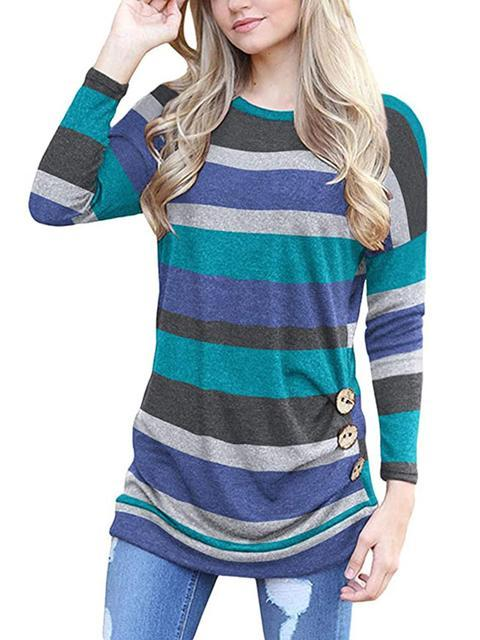 Colorful Stripes Leopard Printed Casual Tops