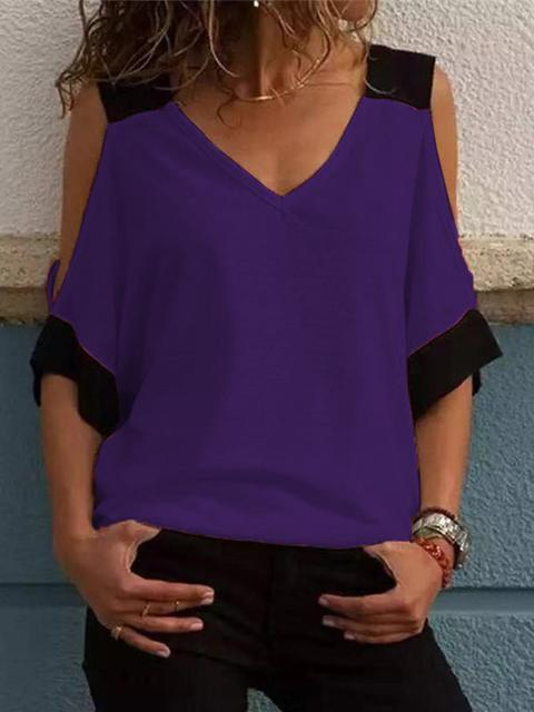 Contrast Color Cold Shoulder Tops