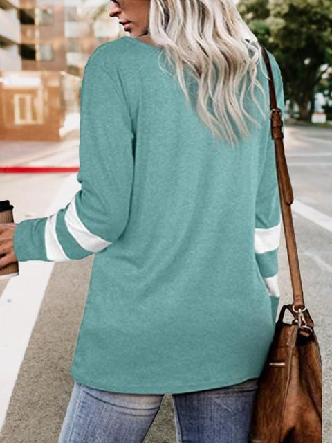 Contrast Color Sleeve Twisted Tops
