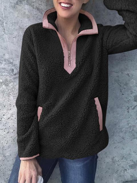 Contrast Color Zipper Up Plush Pullover